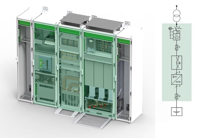 Rys. 2. Moduły układu magazynowania energii DC zfalownikiem DC/AC