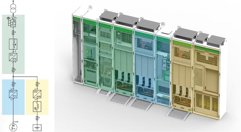 Rys. 3. Konfiguracja hybrydowego układu zasilania napędu AC ze wspólną szyną DC oraz modułami falownika DC/AC ikonwertera DC/DC do baterii akumulatorów