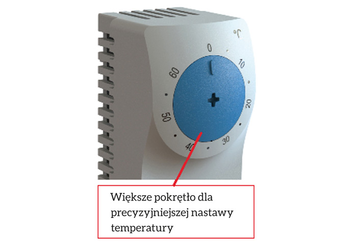 Większe pokrętło dla precyzyjniejszej nastawy temperatury