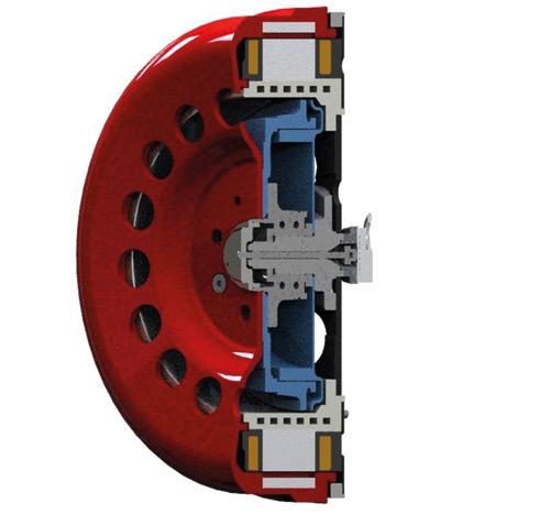 Rys. 3. Model 3D przekroju silnika do zabudowy wpiaście koła samochodu elektrycznego