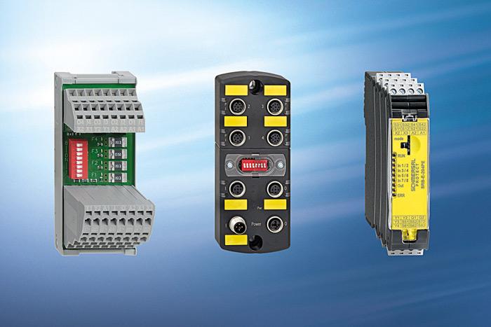 Fot. 4. Systemy przyłączeniowe bezpieczeństwa Schmersala: PDM pasywny moduł dystrybucyjny, PFB pasywny moduł fieldbox, SRB-E aktywny multiplikator wejść (od lewej do prawej)