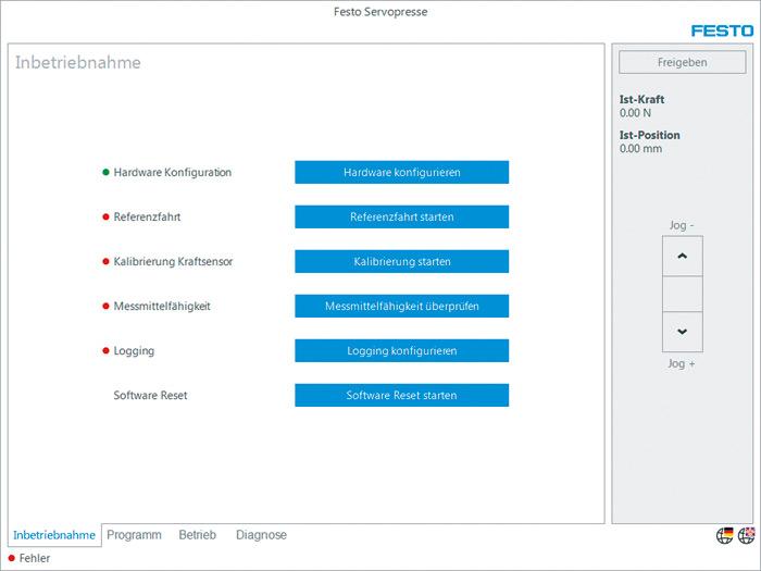 Ekran startowy oprogramowania prasy. Ekran startowy oprogramowania operacyjnego GSAY: uruchamianie