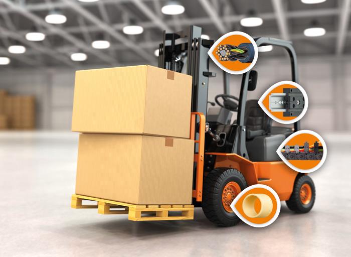 Od łożysk ślizgowych do e-prowadników: bezsmarowne ibezobsługowe tworzywa sztuczne  o dużej wydajności od igus stosowane są wwielu punktach konstrukcji wózków widłowych  (Źródło: igus GmbH)