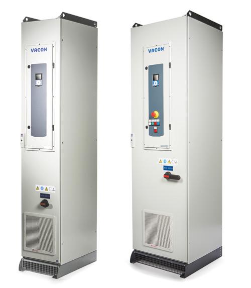 Rys. 1. Przetwornice serii VACON 100 – szafy szerokości 400 mm – do 110 kW, 600 mm do 315 kW, 1200 mm do 630 kW (dla 400 V). Widoczna osobno otwierana sekcja sterowania wraz zelementami sterowania lokalnego