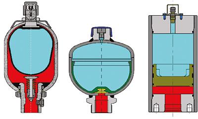 Rys. 3. Od lewej: akumulator przeponowy, pęcherzowy i tłokowy