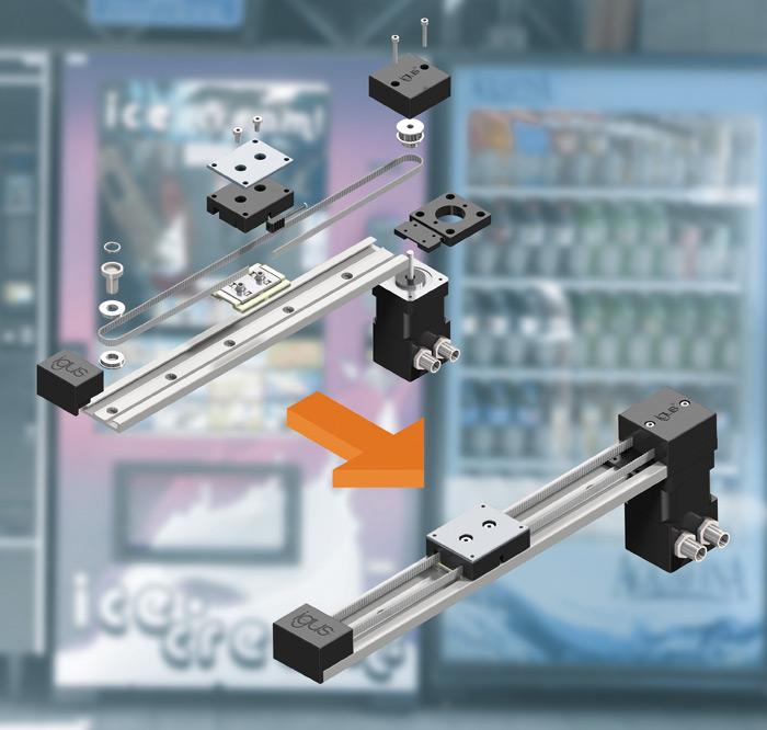 Od pojedynczych komponentów do kompletnych systemów: dzięki polimerowym komponentom firma igus opracowała kompaktowy iekonomiczny napęd zpaskiem zębatym drylin ZLN do szybkiej automatyzacji wciasnych przestrzeniach