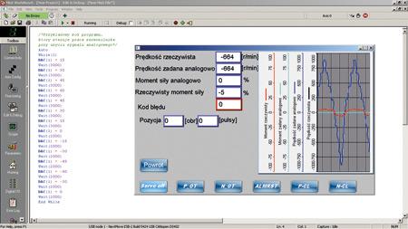 Rys. 9. Przykładowy kod programu sterującego serwonapędem przy użyciu sygnału analogowego oraz wizualizacja próbkowanych danych na HMI Weintek