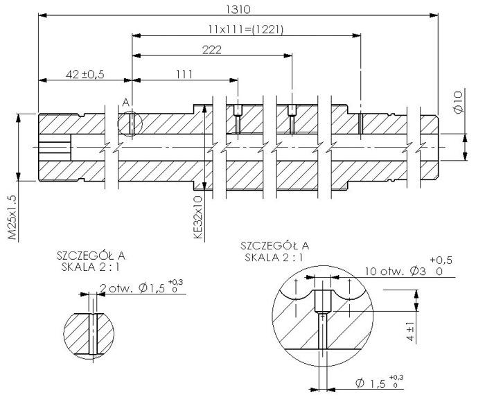 Rys. 3. Przekrój śruby tocznej osi Xwyposażonej wczujniki temperatury