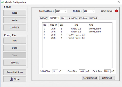 Fot. 4. EasyCANHopener – konfiguracja modułu